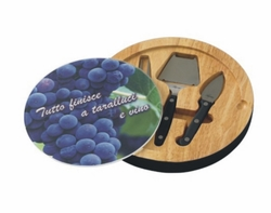 Personalized Grape Cluster Glass Top Round Cutting Board With Tool Set