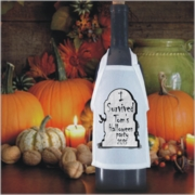 Personalized Gravestone Halloween Bottle Apron For Wine, Spirits, Craft Beer, Coffee Syrups and Cooking Oils