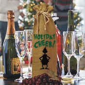 Personalized Grinch Silhouette Holiday Burlap Drawstring Wine Bottle Gift Bag