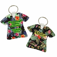 Personalized Hawaiian Tropical Print T-Shirt Shaped Aluminum Key Tag/Keychain/Key Charm
