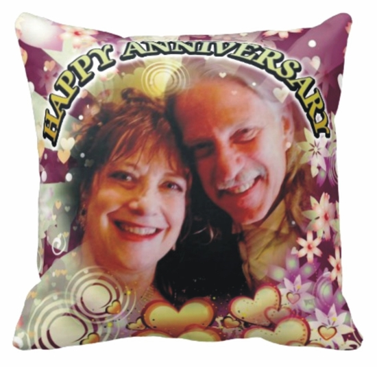 Personalized Hearts Of Gold Floral Photo Square Throw Pillow