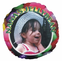Personalized Jelly Bean Round Photo Throw Pillow