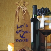 Personalized 'Let's Get Nauti' Blue Anchor Nautical Burlap Drawstring Wine Bottle Gift Bag