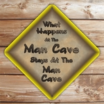 Personalized Man Cave Caution Sign