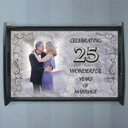 Personalized Marble Photo Anniversary Serving Tray