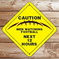 Personalized Men Watching Football Caution Sign
