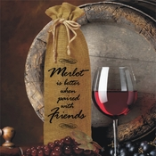 Personalized Merlot Is Better When Paired With Friends Burlap Drawstring Wine Bottle Gift Bag