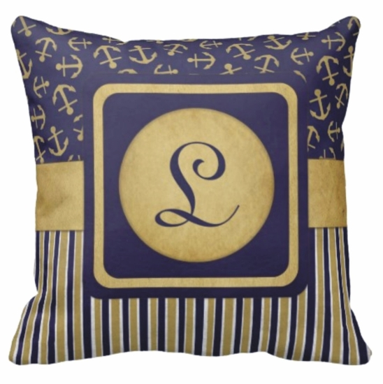 Personalized Navy And Gold Nautical Square Throw Pillow