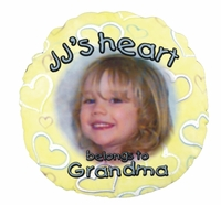 Personalized Open Hearts Yellow Round Photo Throw Pillow