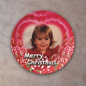 Personalized Peppermint Hearts Christmas Porcelain Photo Plate