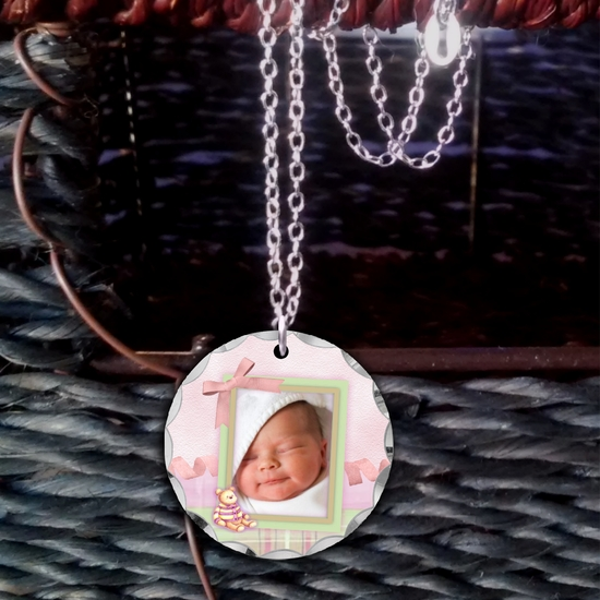 Custom Baby Girl Photo Necklace Gift With Pink Bow/Plaid/Ribbon For New Mom, Grandma, Big Sister