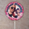Personalized Pink Flowerburst Photo Balloon