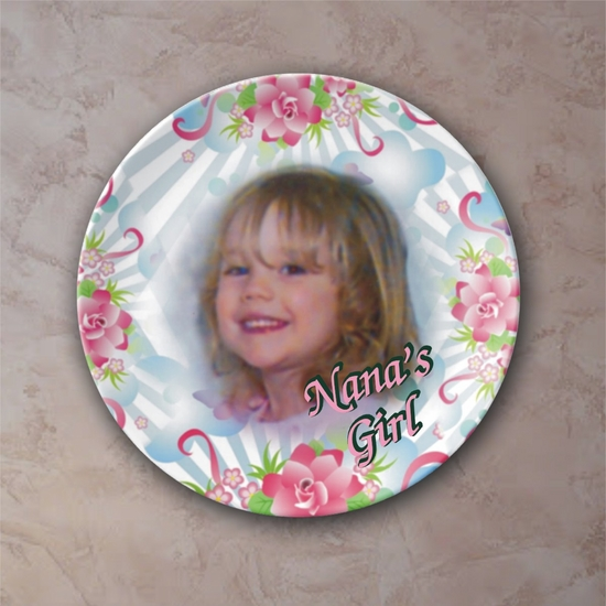 Personalized Pink Posies And Summer Skies Porcelain Photo Plate