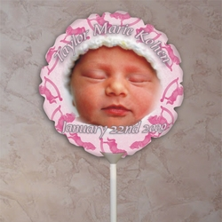 Personalized Pink Rocking Horses Baby Photo Balloon