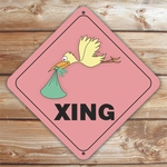 Personalized Pink Stork Crossing Sign