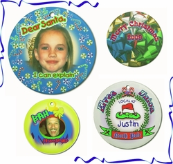 Personalized Porcelain Round Christmas Ornaments And Gift Tags
