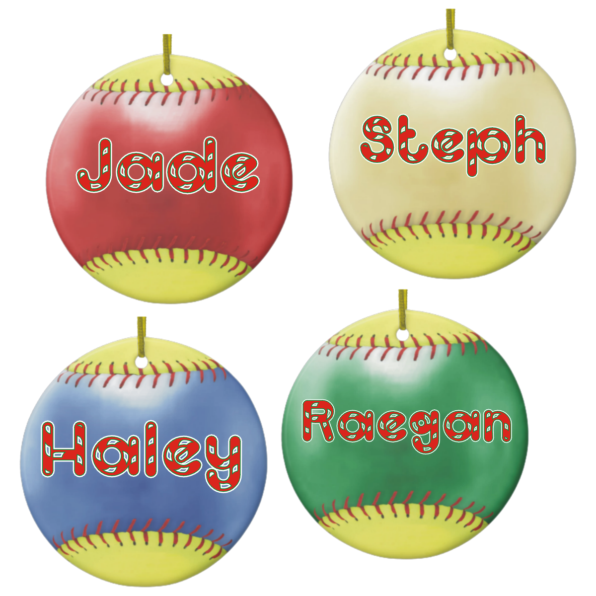 Porcelain Round Fastpitch Softball Christmas Ornaments And Gift Tags