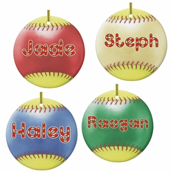 Personalized Porcelain Round Fastpitch Softball Christmas Ornaments And Gift Tags
