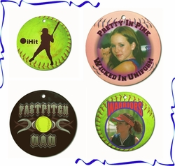 Personalized Porcelain Round Fastpitch Softball Ornaments And Gift Tags