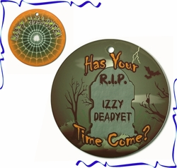 Personalized Porcelain Round Halloween Ornaments And Gift Tags