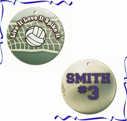 Personalized Porcelain Volleyball Ornaments And Gift Tags