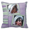 Personalized Purple And Green Stripes Photo Square Throw Pillow