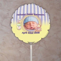 Personalized Purple Striped Baby Photo Balloon