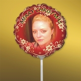 Personalized Red Swirl Christmas Photo Balloon