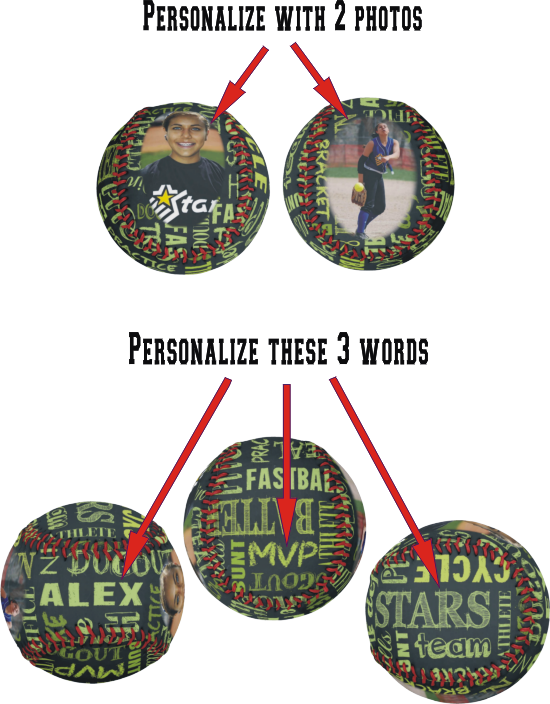 Personalized Regulation Fastpitch Softball With Chalkboard Text and Photos
