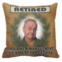 Personalized Retired Under New Management  Photo Square Throw Pillow