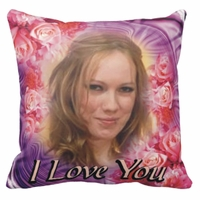 Personalized Rose Bouquet Photo Square Throw Pillow