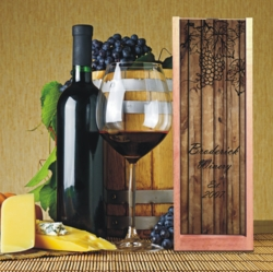 Personalized Rustic Wood With Grapes Wine And Spirits Box