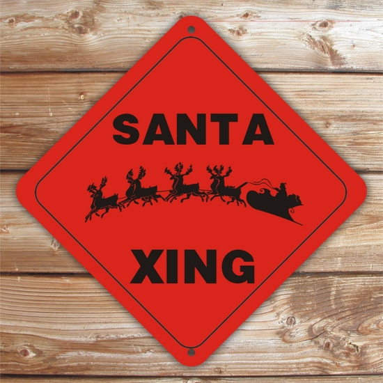 Personalized Santa Crossing Christmas Sign