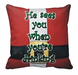 Personalized Santa Suit Square Throw Pillow
