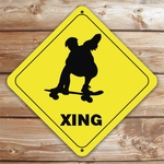 Personalized Skateboarder Crossing Caution Sign