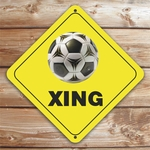 Personalized Soccer Crossing Caution Sign