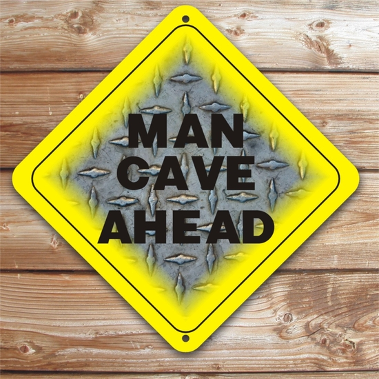 Personalized Steel Plate Man Cave Caution Sign
