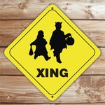 Personalized Trick Or Treaters Crossing Halloween Sign