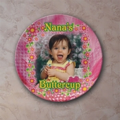 Personalized Vining Posies Porcelain Photo Plate