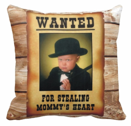 Personalized Wanted Poster Photo Square Throw Pillow