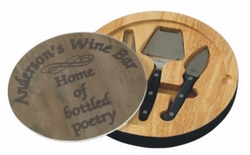 Personalized Wine Barrel Glass Top Round Cutting Board With Tool Set