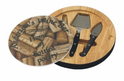 Personalized Wine Corks Glass Top Round Cutting Board With Tool Set