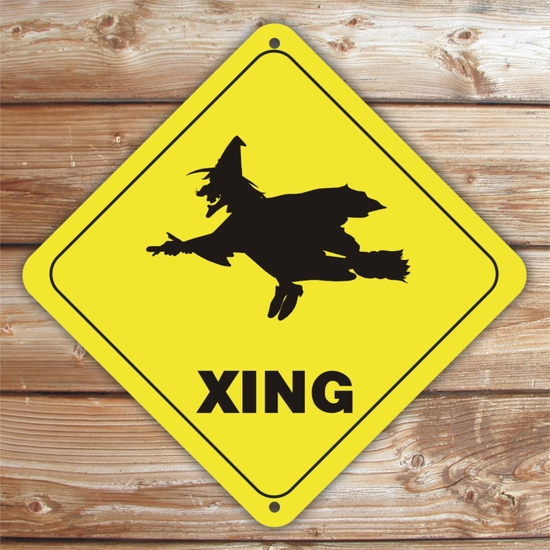 Personalized Witch Crossing Halloween Sign