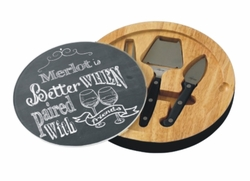 Personalized With Friends Chalkboard Glass Top Round Cutting Board With Tool Set
