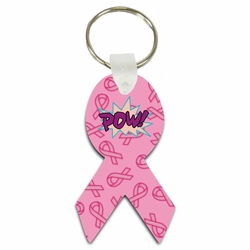 Pink Breast Cancer Awareness Ribbon Fighting Super Hero Aluminum Key Tag/Keychain/Key Charm