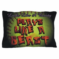 Plays Like A Beast Fastpitch Softball Pillowcase