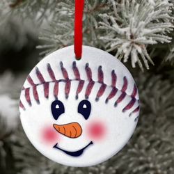 Baseball Snowman Ornament/Custom Baseball Snowman Christmas Ornament/Gift Tag/Personalized Baseball Christmas Gift/Ornament Keepsake