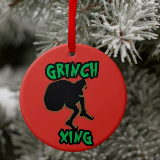 Christmas Grinch Ornament/Funny Personalized Grinch Christmas Ornament/Gift Tag/Personalized Grinch Christmas Music Funny Gift