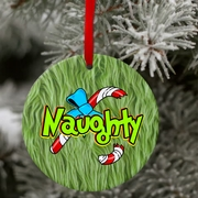 Porcelain Naughty Grinch With Broken Candy Cane Christmas Ornament And Gift Tag