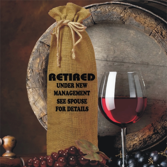 Retired Under New Management See Spouse For Details Burlap Drawstring Wine Bottle Gift Bag